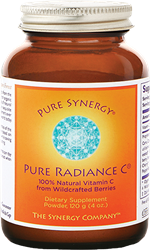 Pure Radiance C: Organic, 100% Whole Foods Vitamin C, 4 oz powder Pure Radiance C, vitamin C, organic acerola berries, rose hips, lemon peel, reeze-dried blueberries, raspberries, cranberries, cherries, buckwheat sprouts, bioflavonoids, phytonutrients, quercetin, rutin, hesperidin, anthocyanins, ellagic acid, superoxide dismutase