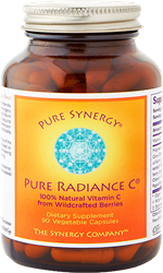Pure Radiance C: Organic, 100% Whole Foods Vitamin C, 90 capsules Pure Radiance C, vitamin C, organic acerola berries, rose hips, lemon peel, reeze-dried blueberries, raspberries, cranberries, cherries, buckwheat sprouts, bioflavonoids, phytonutrients, quercetin, rutin, hesperidin, anthocyanins, ellagic acid, superoxide dismutase