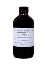 Herbal Formula #8, Balanced Blood, 4 ounces Herbal Formula, Organic Herbs, herbal tinctures, wildcrafted herbs, wildcrafted tinctures, Echinacea, Goldenseal, Skullcap, Oats, Hawthorn, Immune Support, Milk Thistle, Dandelion,Pau dArco