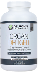 Organ Delight, 180 capsules grassfed organic organs, organic glands, Liver, Heart, Brain, Thymus, Kidney, Pancreas, Adrenal with Cortex, Testicle, Ovary, superfood