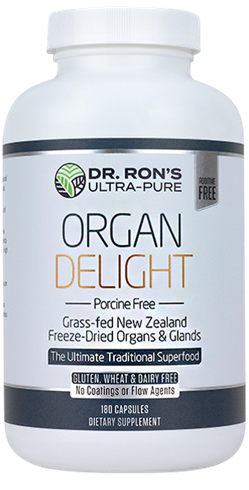 Organ Delight: Porcine Free, 180 capsules grassfed organic organs, organic glands, Liver, Heart, Brain, Thymus, Kidney, Pancreas, Adrenal with Cortex, Testicle, Ovary, superfood