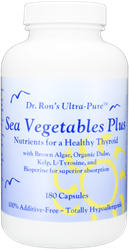 Sea Vegetables Plus, 180 capsules sea vegetables, thyroid health, healthy thyroid, brown algae, kelp, fucoidan extract, l-tyrosine, organic dulse, thyroid hormone